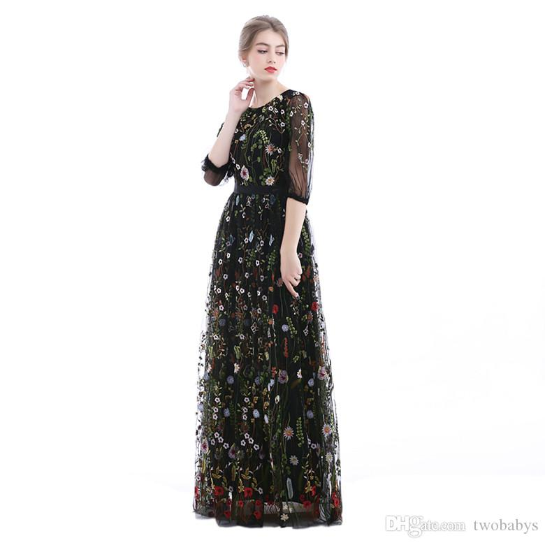 73af33fff7 Embroidered Floral 3 4 Sleeves See Through Prom Dress Semi-Formal Evening  Gowns.