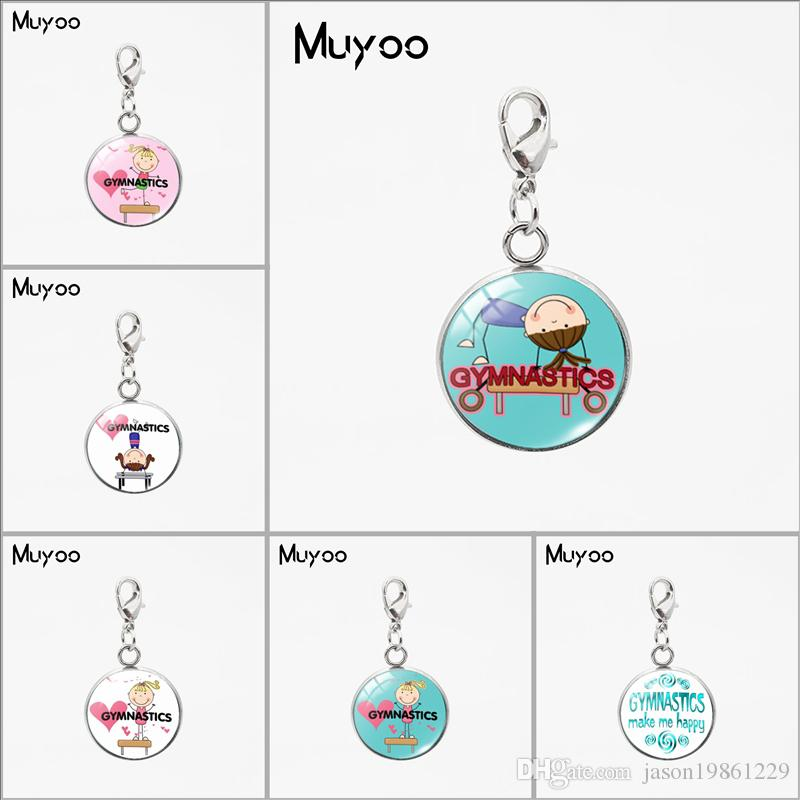 Cartoon Gymnast Silhouette Design Signs Glass Dome Charms Pendant Love Gymnastic Peace Love Gymnastics Stainless Steel Charms