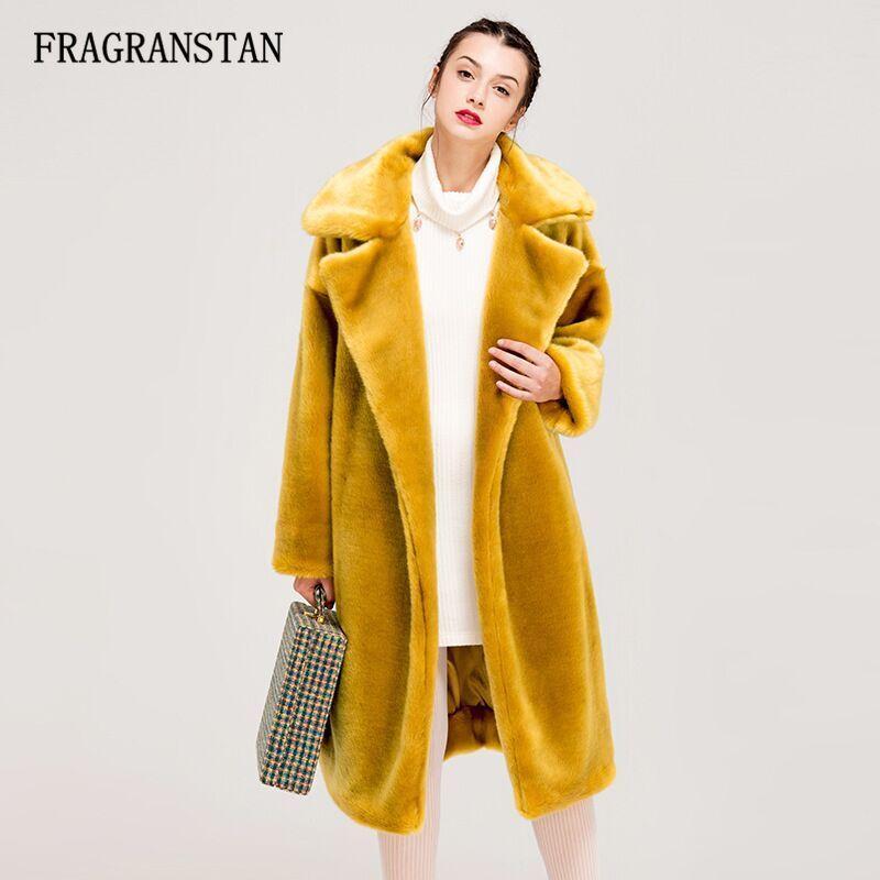 2210f1ce5d Winter Women High Quality Faux Rabbit Fur Coat Luxury Long Fur Coat Loose  Lapel OverCoat Thick Warm Plus Size Female Plush Coats Faux Fur Cheap Faux  Fur ...