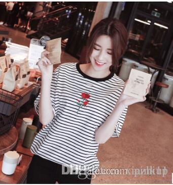 42362168 New Hot Style Spot Round Collar Short Sleeved Rose Embroidery Hollowed Out  Korean Version Of The Brand Stripe T Shirt Girl. Funny Printed Shirts Cool  Tee ...