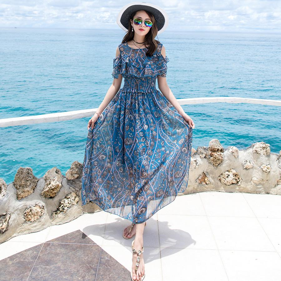 83b84145a62 2019 Off The Shoulder Dress Women Sky Blue Floral Print Chiffon Slim Waist  Long Beach Holiday Party Dinner Dresses 3652 From Clothes zone