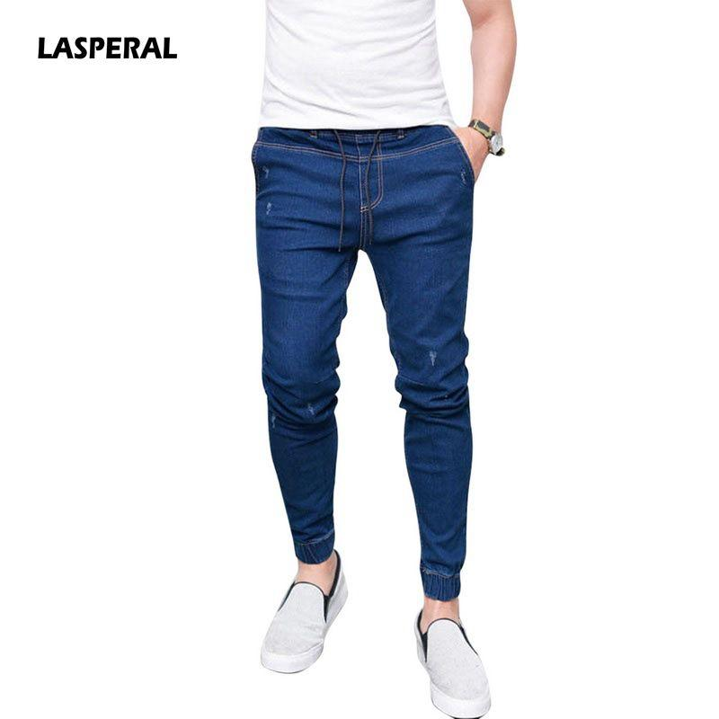 00567a7d145 2019 LASPERAL 2018 New Summer Spring Long Pencil Pants Casual Slim Jeans  Mens Brands Fit Slim Trousers Elastic Waist Male Pantalones From Oldriver