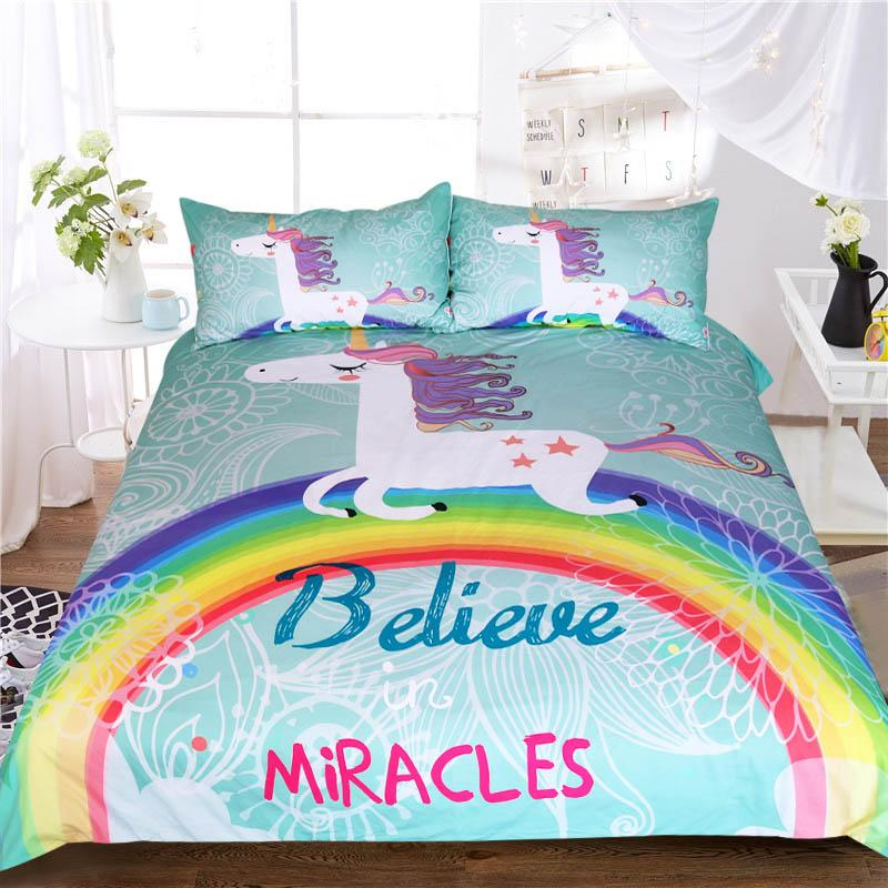 3pcs Unicorn Comforter Bedding Set King Twin Queen Size Cartoon Double Luxury Bed Duvet Cover Animal For Kid Rainbow Bedspreads