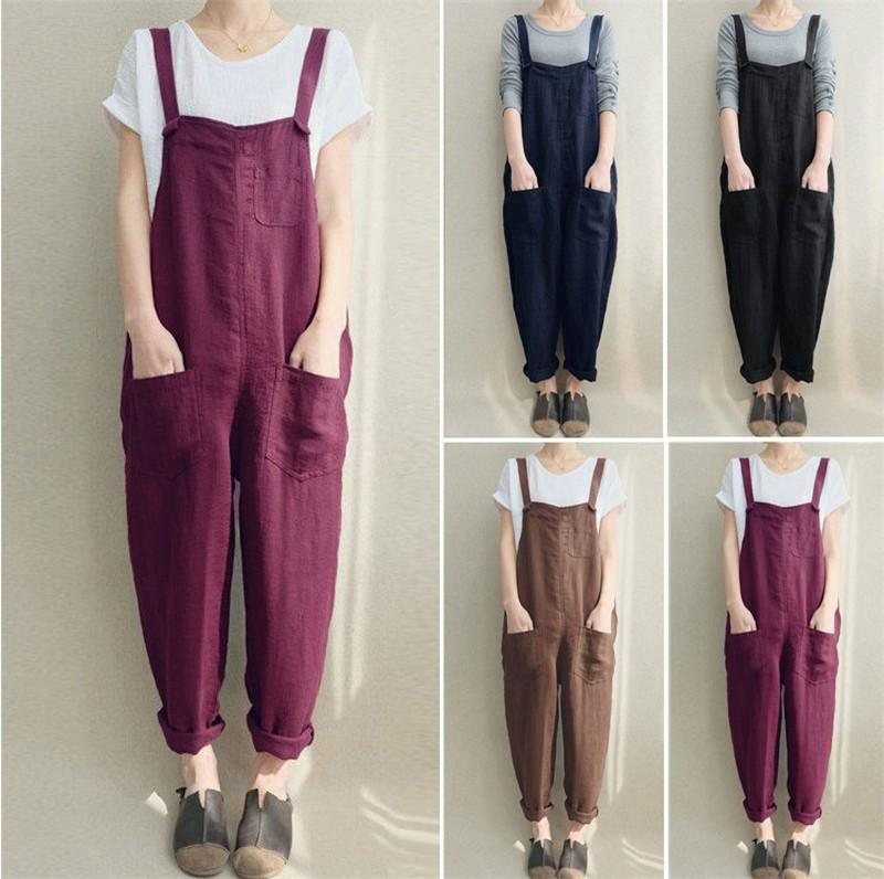 S-5XL Women Overalls Spring Autumn Flax Jumpsuit Casual Loose Suspender Trousers Pants Pocket Button Rompers Ladies Jumpsuits Overalls