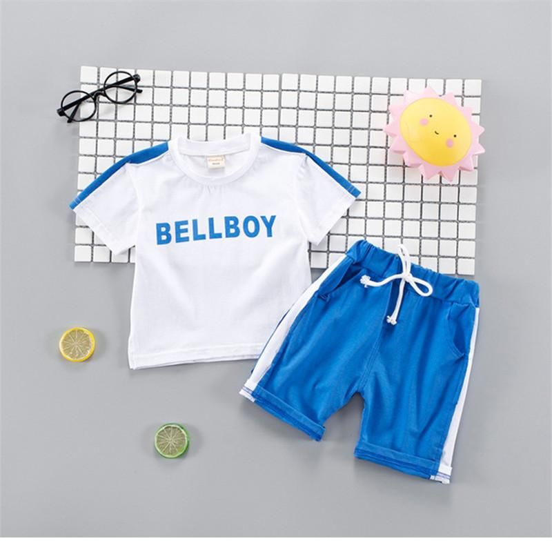100% cotton summer boys clothing 2019 new active letter sport kid children baby clothes baby clothing 0-4 years clothing set
