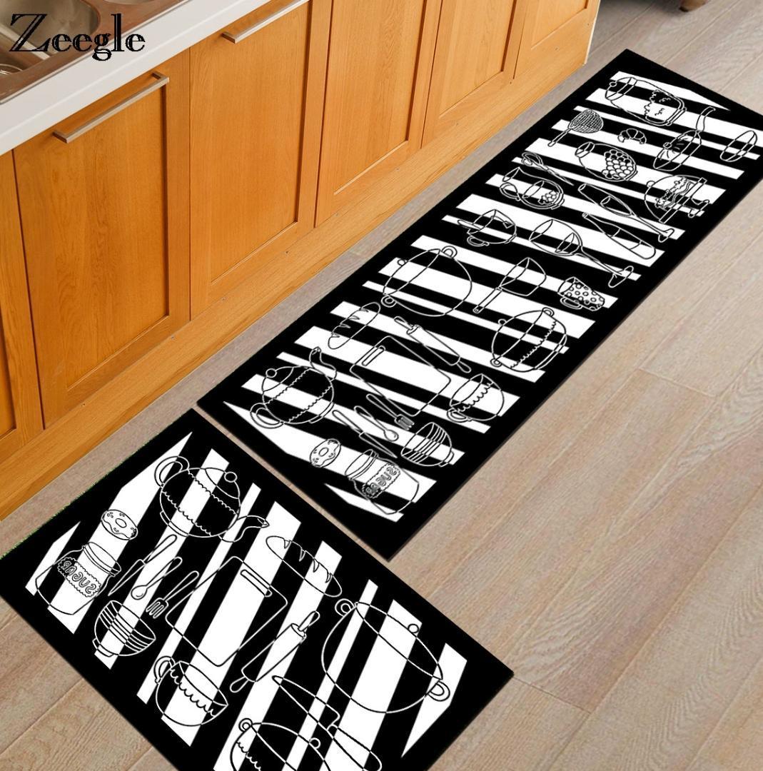 Zeegle Kochgeschirr Printed Kitchen Teppiche Anti-Rutsch-Couchtisch  Fußmatten Home Dinging Zimmer Bereich Teppich Küche Fußmatten