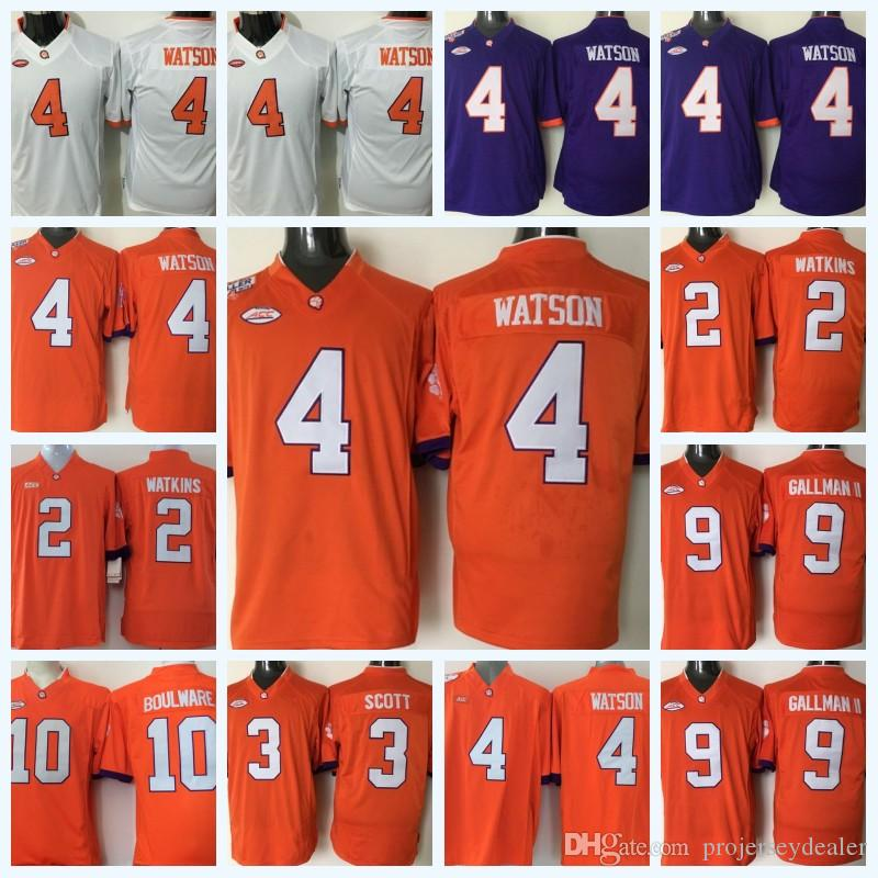 5c6f1b3e1ae 2019 Youth Clemson Tigers 4 DeShaun Watson 3 Artavis Scott 10 Ben BOULWARE 9  Wayne Gallman II 2 Sammy Watkins NCAA College Football Jersey From ...