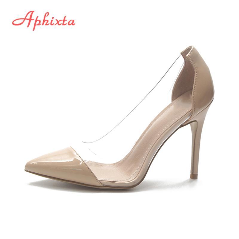 Clair Chaussures Pompes Fin Shallow Habillées Femmes Casual Transparent Talon Parti Elegant Aphixta Dame Bout Pompe Pointe 9cm Bureau Designer gvIY6yb7f