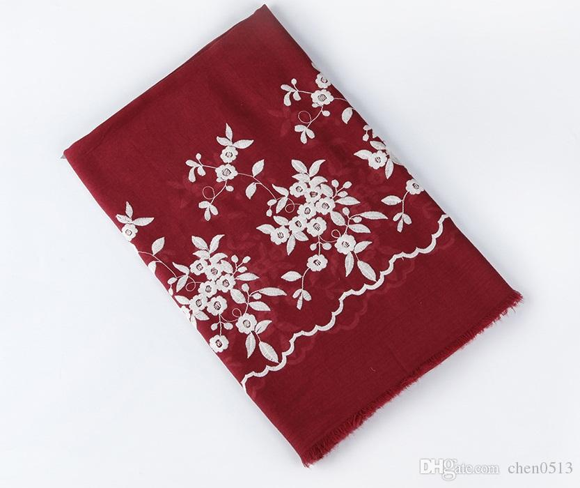 New embroidered wave lace scarf female fashion autumn and winter cotton and linen embroidery flower scarf