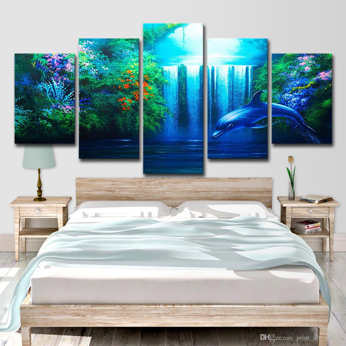 Wall art pictures home decor living room hd printed 5 pieces calming dolphin waterfall poster landscape canvas paintings