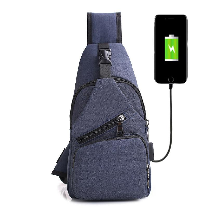 zZSzs2 Men Canvas Creative USB Charger Port Anti-theft Chest Pack Travel Bags Backpack Rucksack Shoulder Sling Bag
