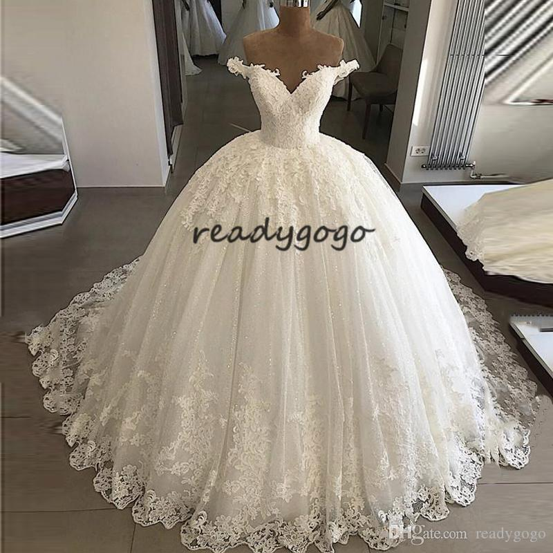 Princess Puffy Skirt Wedding Dresses 2019 Off Shoulder Full Lace Applique Sweep Train Lace-up Garden Church Wedding Gown