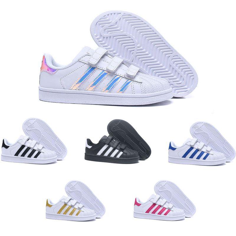 Acheter 2018 Adidas Superstar Originals Enfants Superstar Hologram Blanc  Iridescent Junior Superstars Des Années 80 Pride Sneakers Super Star  Garçons Filles ... 8b93b64d7675