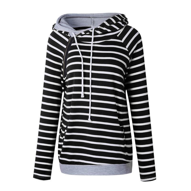Rot weiß Frauen Gestreifte Hoodies Sweatshirts 2019 Herbst Winter Mode Lose Mit Kapuze Sweatshirts Plus Größe Xxxl