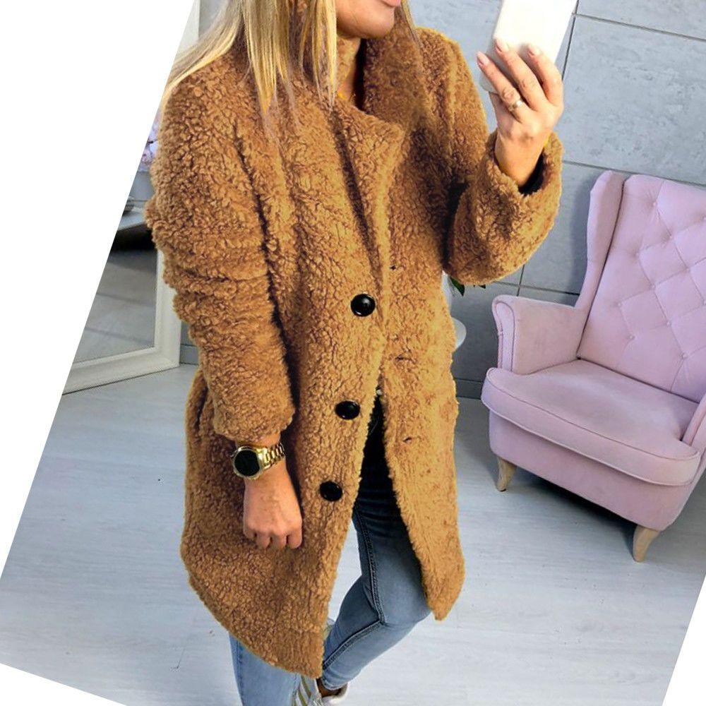 202bf238485 2019 Elegant Faux Fur Coat Women 2018 Autumn Winter Warm Soft Button Fur  Jacket Female Plush Overcoat Casual Outerwear From Baxianhua, $26.67 |  DHgate.Com