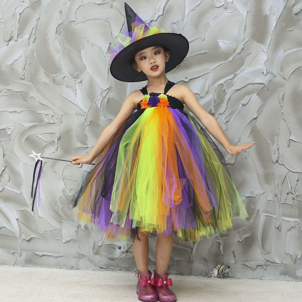 Witch Tutu Dress Rainbow Kids Girls Halloween Witch Costume Fancy Dress  Children Festival Carnival Party Dress Girls Clothes Flower Girl Ivory Dress  Flower ... 98bcd44b2872