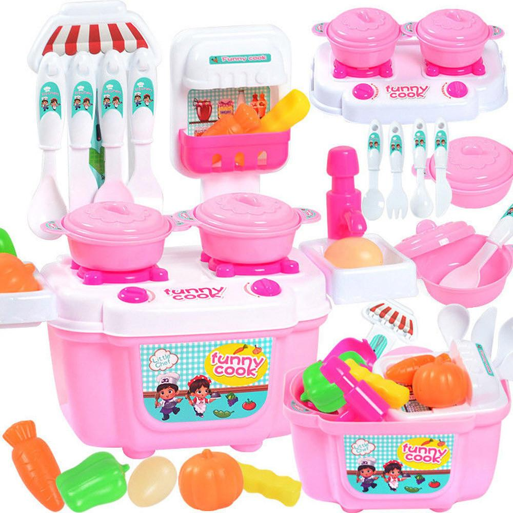 2018 new 22pcs/set children girl toy role playing mini cute cartoon simulation small kitchen girl cooking house toy F4