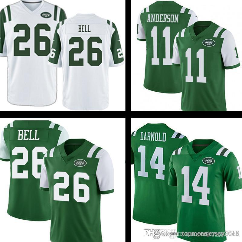 best website 808d7 b9447 26 Le'Veon Bell New York Mens Jets Jersey 14 Sam Darnold Jets 33 Jamal  Adams 2019 NEW Color Rush Game Green White Football Jerseys