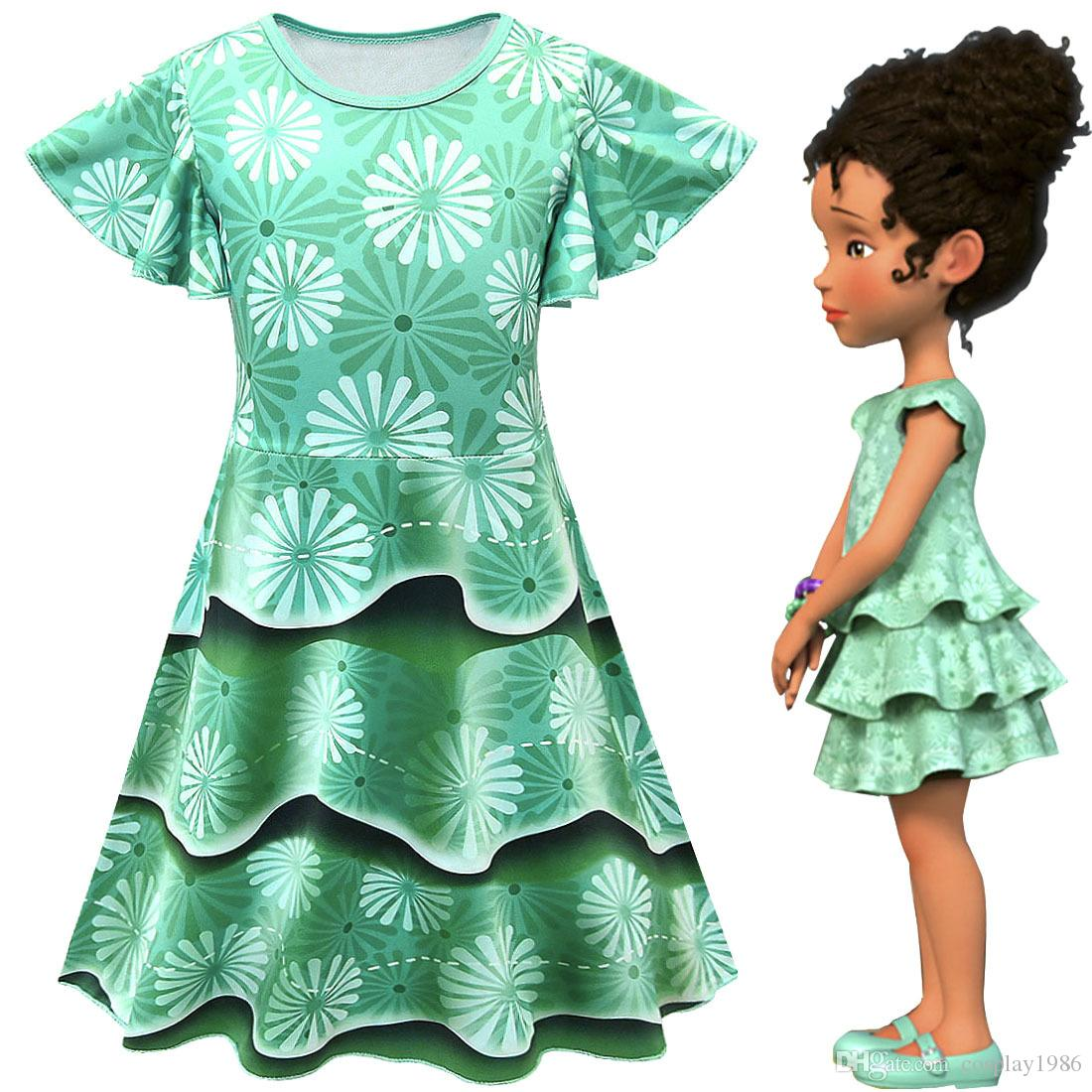 6f8039b1c25 Green Cosplay Fancy nancy Girl Kids Lovely Dress Costume Party Princess  Casual Children Summer Gift 3-10 Year Old