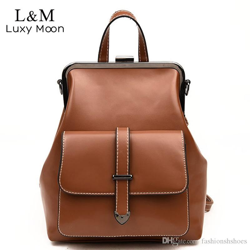 3ffb66b0378 2019 Retro Hasp Backpack Bags Vintage PU Leather Backpacks Women School  Bags For Teenagers Girls Luxury Small Back Pack XA524H #199162