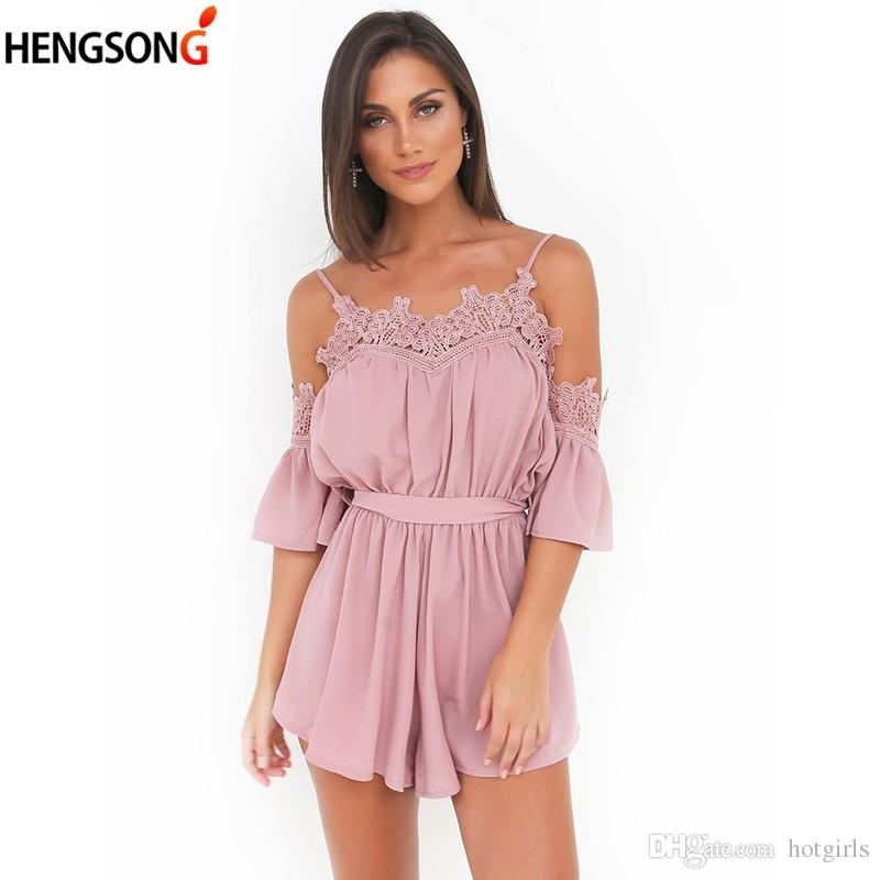 3c8c83e7eda 2019 Summer Off Shoulder Sexy Playsuits Women Big Flare Sleeve Jumpsuits  2018 Beach Party Casual Lace Up Rompers Chiffon Overalls From Hotgirls