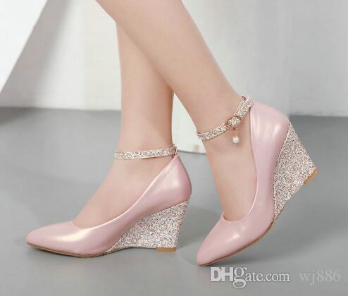 a56b9b705b51 Compre Negro Rosa Blanco Zapatos De Cuña Para Las Mujeres Cuñas De Tacón  Alto Correa Del Tobillo Bombas Punta Estrecha Elegante Zapatos De Boda De  Las ...