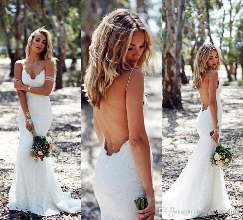 2019 Backless Wedding Dresses Mermaid Spaghetti Strap Sexy Full Lace Wedding Dress Cheap Sweep Low Back BOHO White Bridal Dress