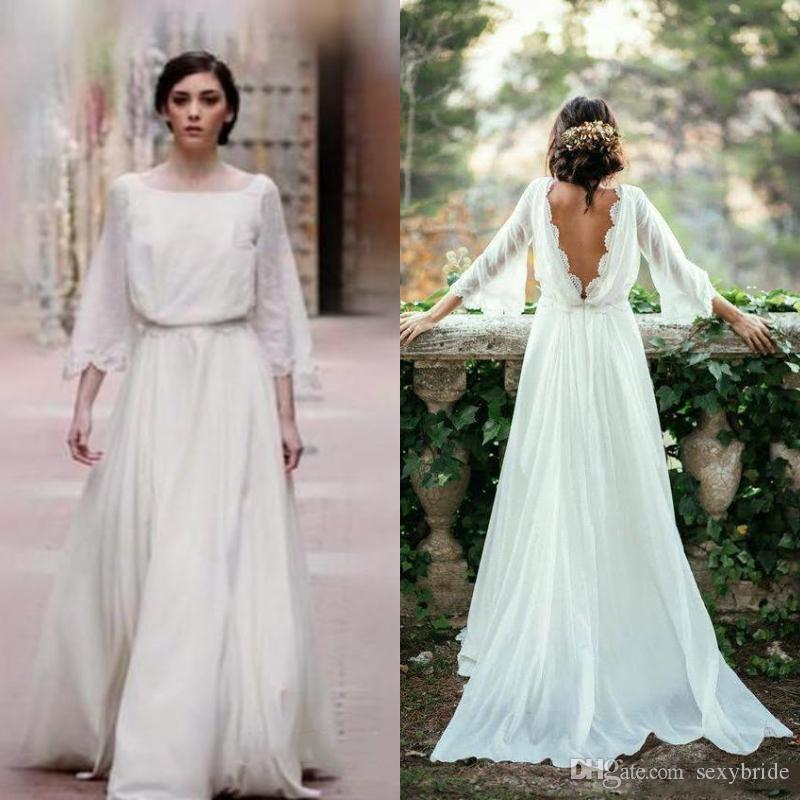 5f6b59230b2 Discount Cheap Chiffon Rustic Country Wedding Dresses A Line New 2019 Sexy  Backless Beach Boho Bohemian Bridal Wedding Gowns With Lace Long Sleeves On  Line ...
