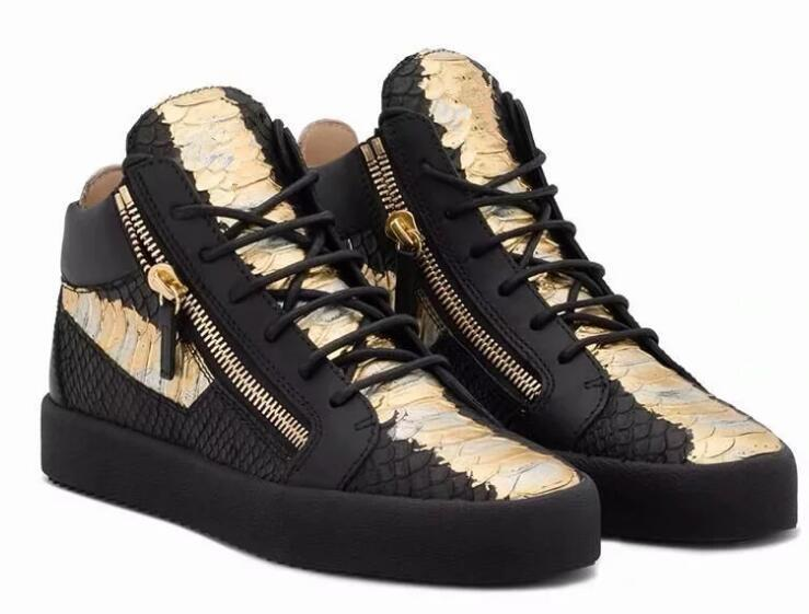 pas mal 82ed5 fe043 2019 HOT Zanotti WOMEN MEN TOP QUALITY Solid color RUNNING SHOES LUXURY ZIP  SNEAKERS MEN High help Zipper Shoes Splice Couple Shoes 35-46