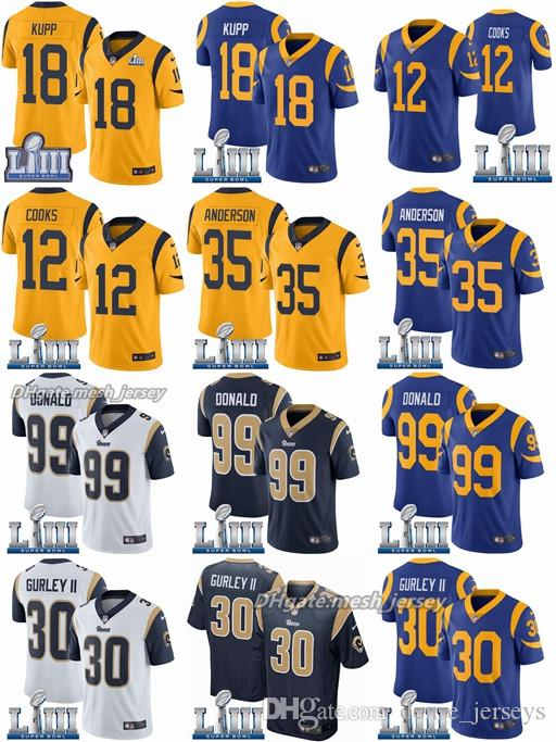 various colors 12eb8 b4628 2019 Super Rams Bowl Los Angeles Jersey 30 Todd Gurley II 99 Aaron Donald  18 Cooper Kupp 12 Brandin Cooks 35 C.J. Anderson Stitched Jerseys