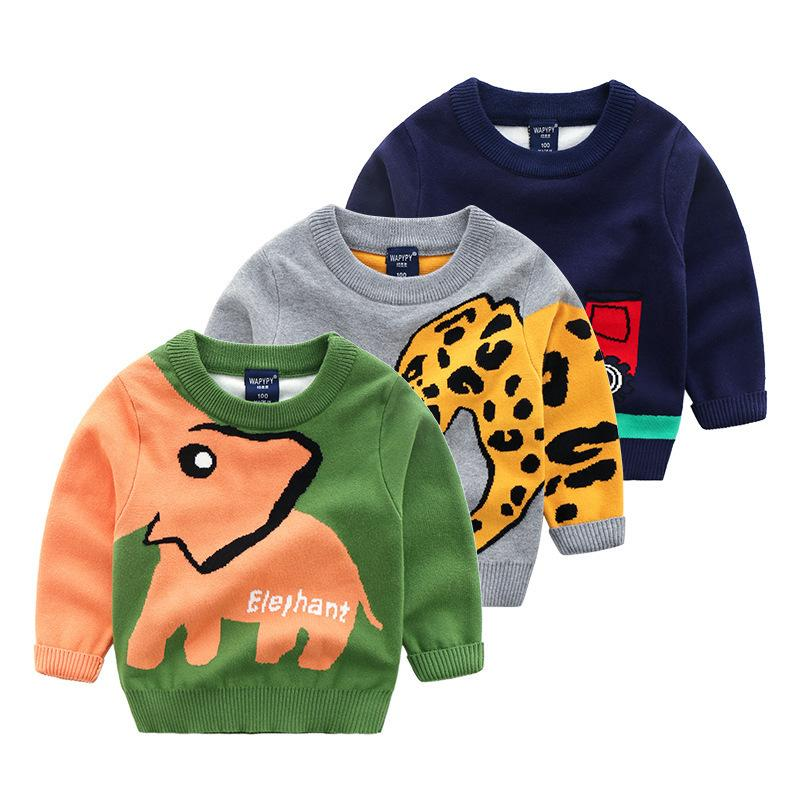 620c53d82 Knitted Toddler Boy Sweater Casual Cartoon Elephant Pattern Warm ...