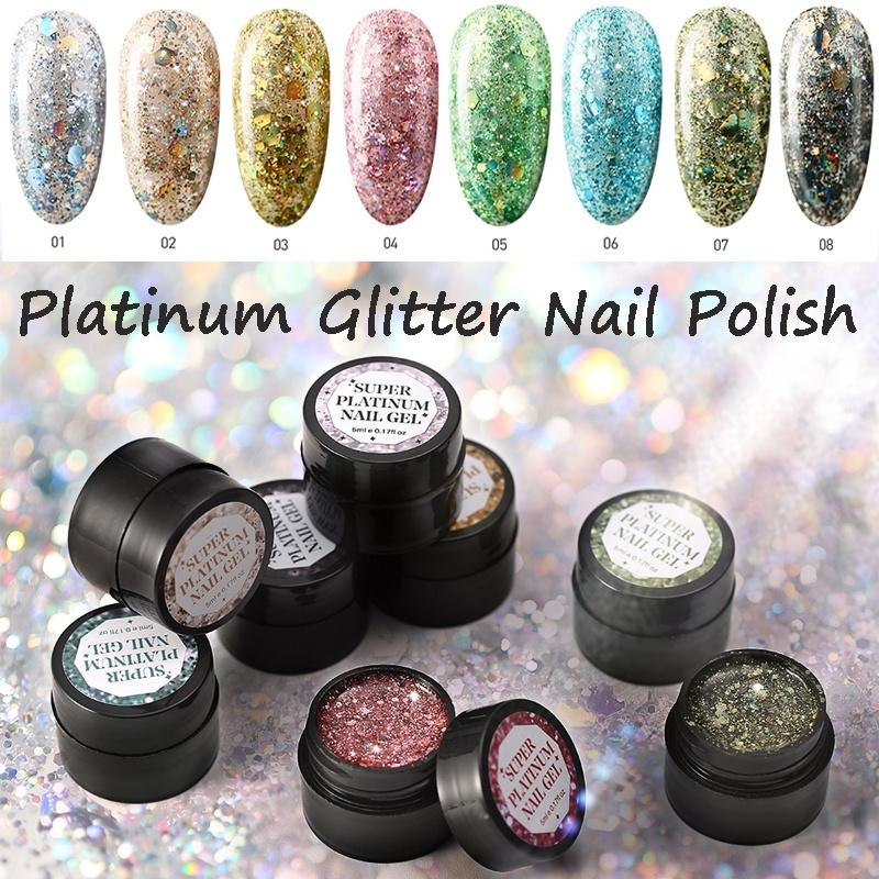 Nail Art Paint Platinum Glitter Nail Polish Soak Off UV Gel Women ...