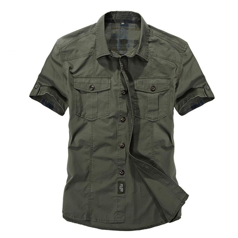 Verde Marca Casual Color Diseñador Algodón Slim Caqui Corta Hombre De Militar Para Manga Camisa Estilo Vestir Hombres Fit y7gbf6