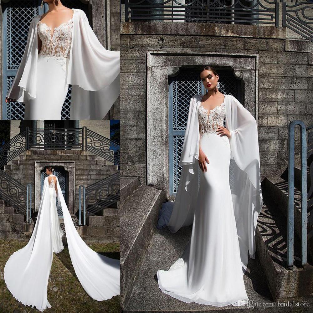 e4b956e690 Caftan Dubai Country Wedding Dresses Mermaid V Neck Flowy Chiffon Beach  Wedding Dress Illusion Back Vestito Da Sposa Cheap Robe De Mariée Big  Mermaid ...