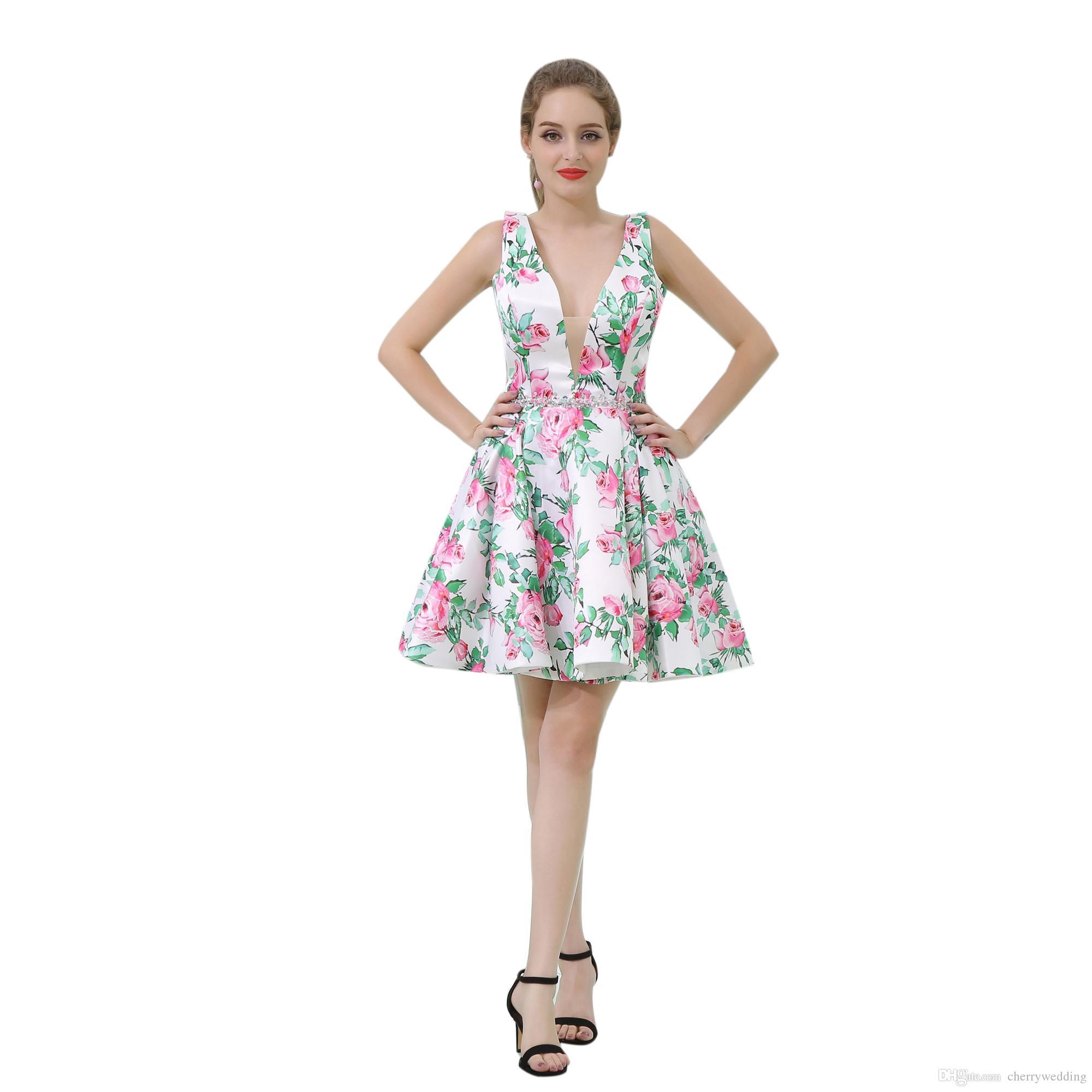 2a85a82540d 2019 Print Flower Fabric Short Mini Prom Dresses Short Evening Dress Deep V  Neck Homecoming Dress B056 Couture Prom Dresses Cute Short Prom Dresses  From ...