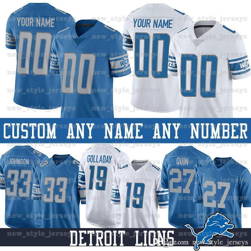 watch 34f47 7e6ca Custom Detroit Men Lions Jersey 90 Trey Flowers 33 Kerryon Johnson 19 Kenny  Golladay 94 Austin Bryant 80 Danny Amendola Football Jerseys