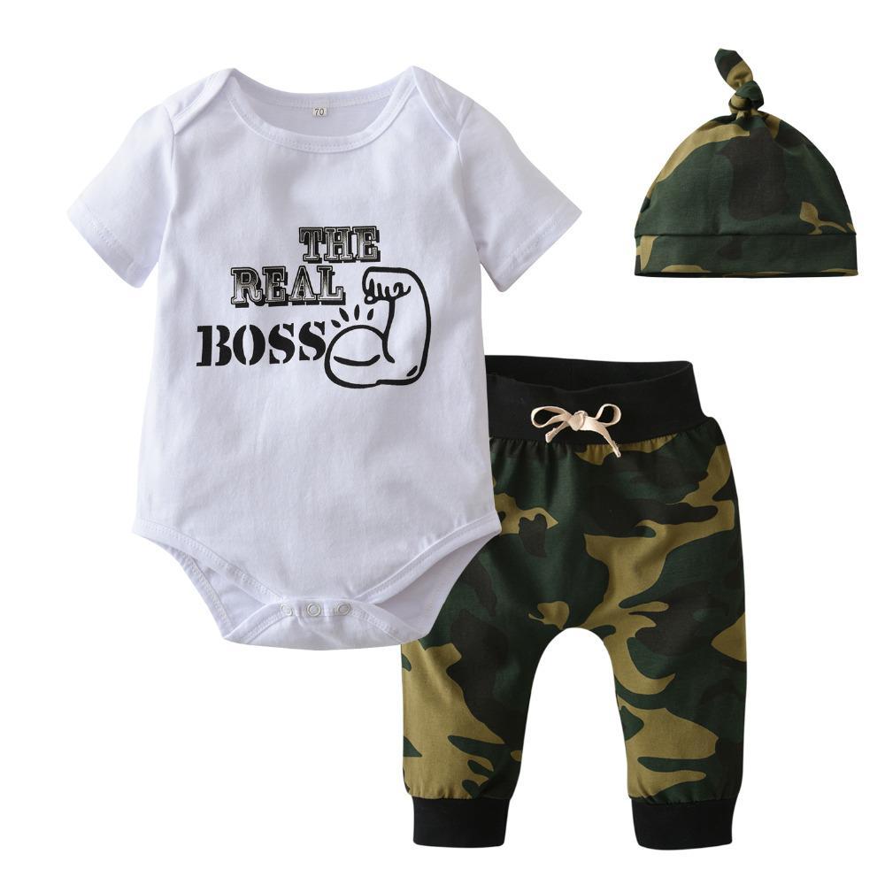 Acquista Neonato Vestiti Della Ragazza Del Ragazzo Manica Corta Lettera The  Real Boss Tuta Tops Verde Dell esercito Con Cappello Toddler Baby Clothing  Set ... 081a9bd644f