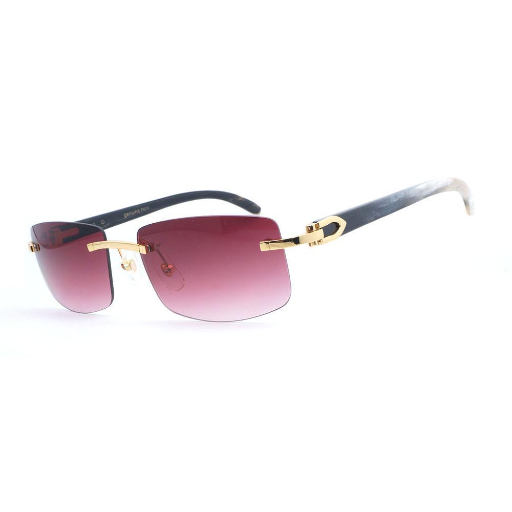 b04d6ba148 Compre Gafas De Sol Retro Hombres Blanco Mezcla Negro Cuerno De Búfalo  Gafas Hombres Sombras Para Conducir Viajar Lujo Sin Montura Gafas De Sol  Rosadas A ...