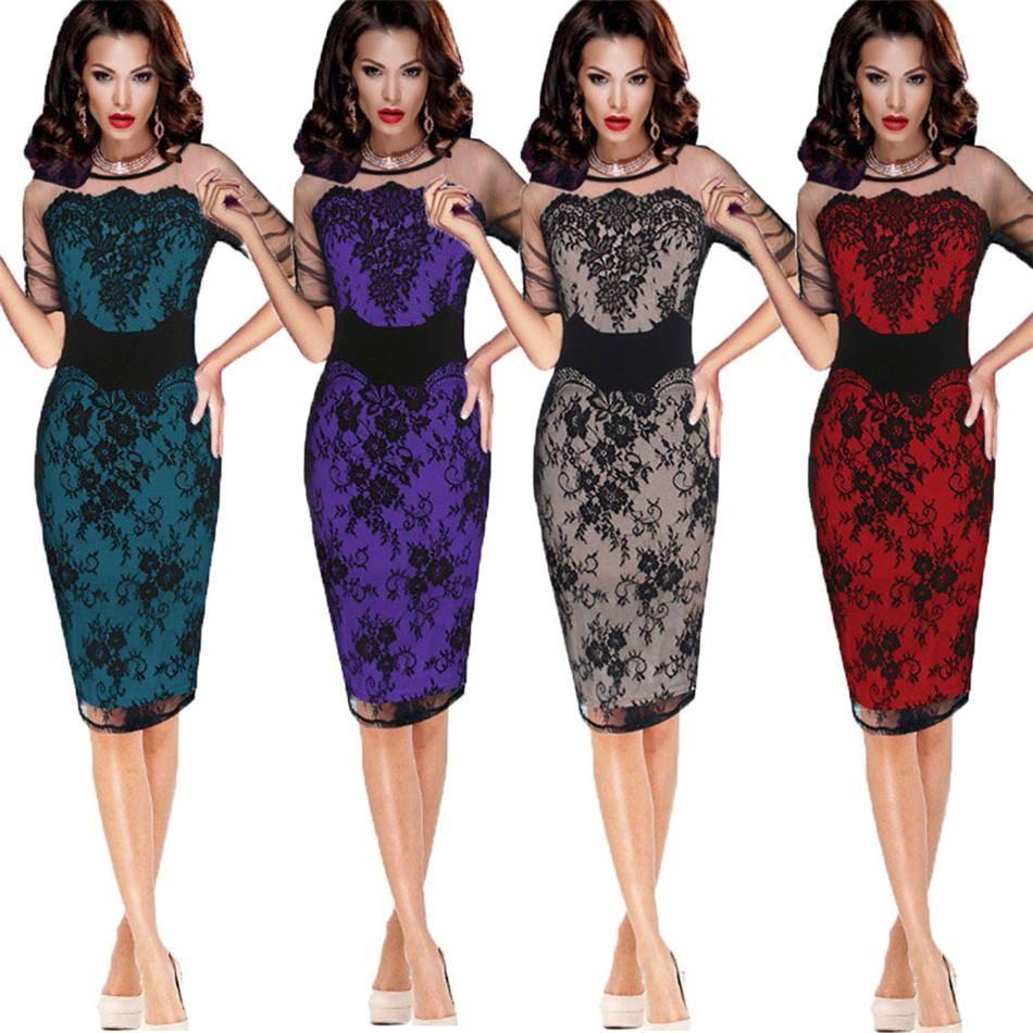 419ffea6edd Women Vintage Elegant Formal Lace Hollow Flowers Tunic Dress 1 2 Sleeve  Work Office Midi Pencil Wiggle Dress NB 146 Black Tie Dresses Celebrity  Dresses From ...