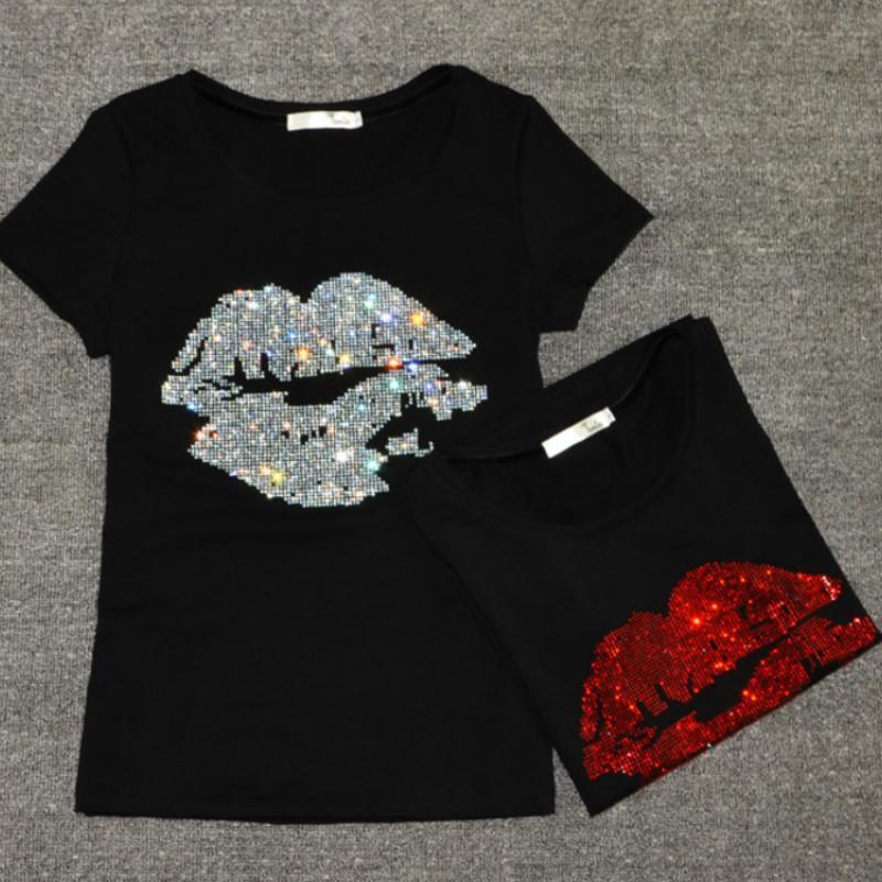 196d8f43617b Summer Women Sequins Lips Tshirt Drilling O Neck Short Sleeve Basic  Bottoming Shirts Beading Sexy T Shirts Casual Tops Xxxl Q190425 Of T Shirt  T Shirt On ...