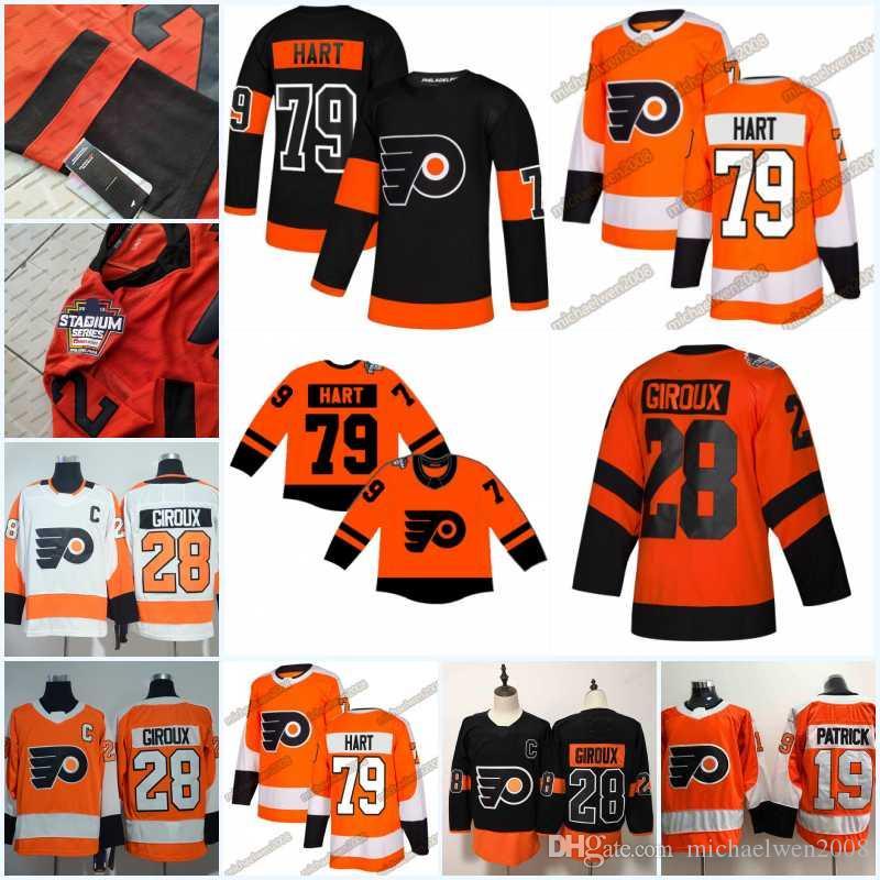 on sale 1b886 db863 79 Carter Hart 2019 Stadium Series Jerseys Men 28 Claude Giroux 14 Sean  Couturier 17 Wayne Simmonds Philadelphia Flyers 93 Voracek