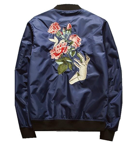Mens Bomber Jacket Japanese Style High Street Fashion Retro Badge Jacket Men Autumn Tide Brand Casual Men's Rose Embroidery Jacket #A-65