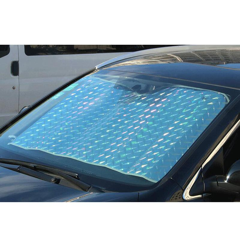 Windshield Sunshade Car Front Window Sun Shade Visor UV Heat Reflector  Reflective Aluminum Film Suction Cup Design External Car Parts External  Parts Of A ... f82cd6a1ad9