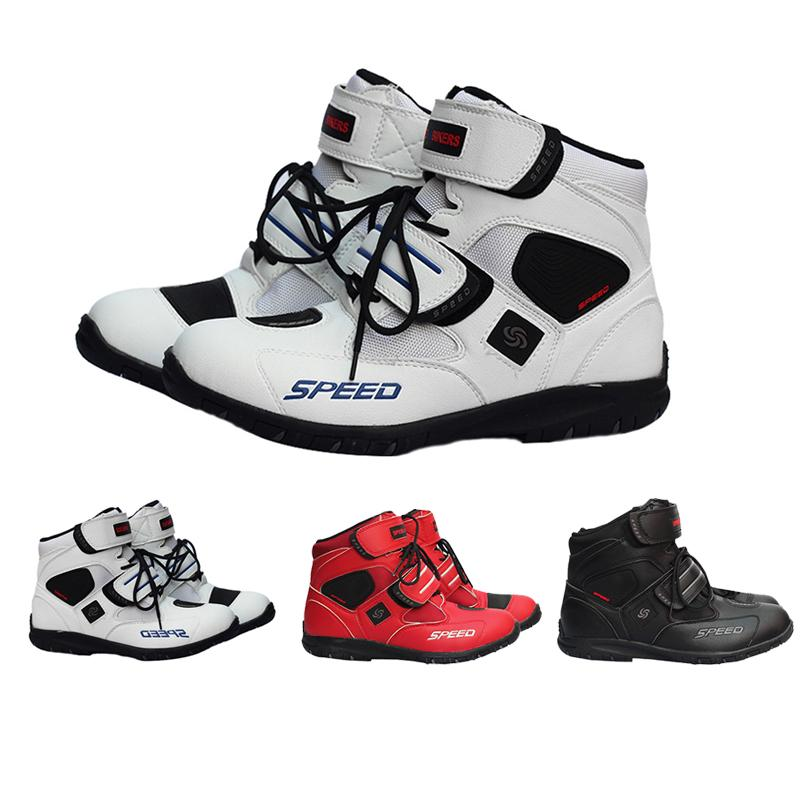Motorcycle Boots Probiker SPEED Moto Racing Motocross Motorbike Shoes Riding Boots Slip Shoes A005 Black/White/Red Size 40-45