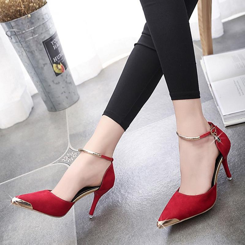 d3dbbf819a3b Designer Dress Shoes 2019 Spring And Summer Night Shop Ladies High Heels  Women Stiletto Pointed Shallow Mouth Buckle Women S Cheap Trainers Blue  Shoes From ...