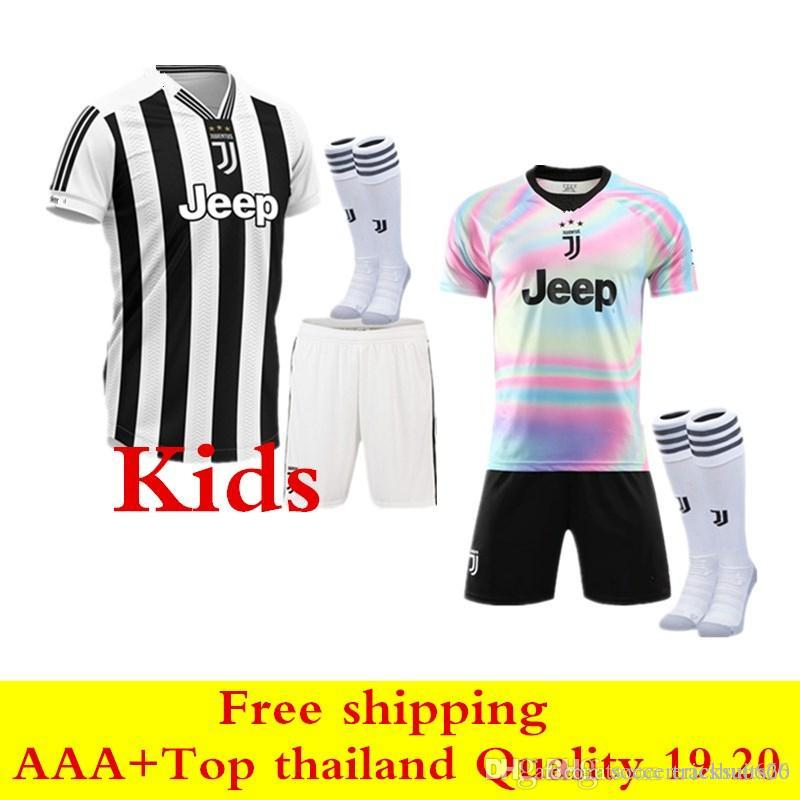 lowest price 0f2e2 80e86 2019 2020 Juventus child soccer Jerseys top thai quality 19 20 EA sports  jersey JUVE kids Kit DYBALA PJANIC RONALDO boys soccer Shirts