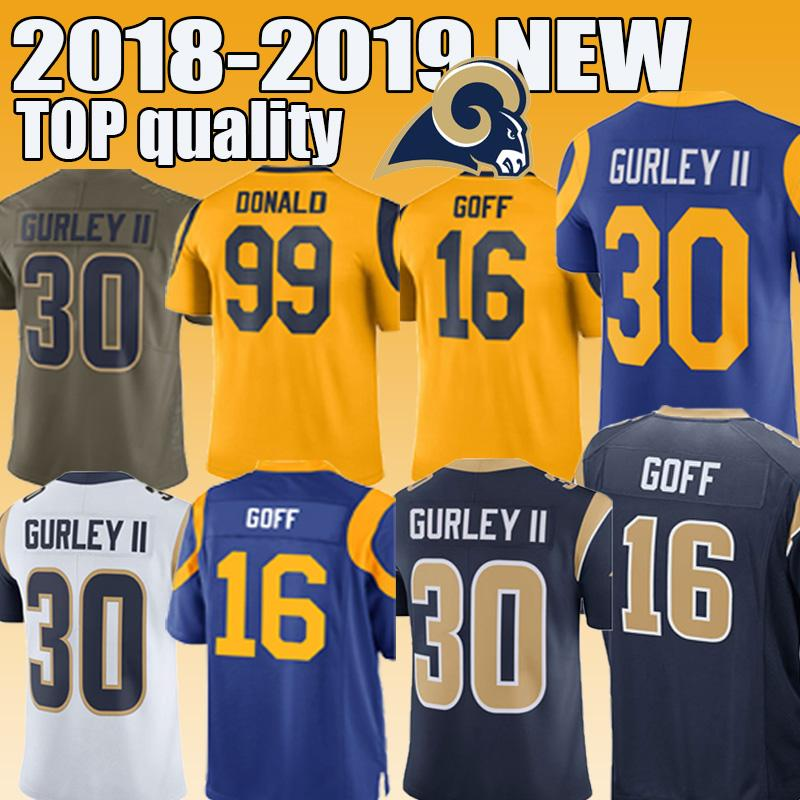 the best attitude 64dd4 57472 Los Angeles Rams 30 Todd Gurley 16 Jared Goff 99 Donald Men's football  jersey 2018-2019 NEW High-quality