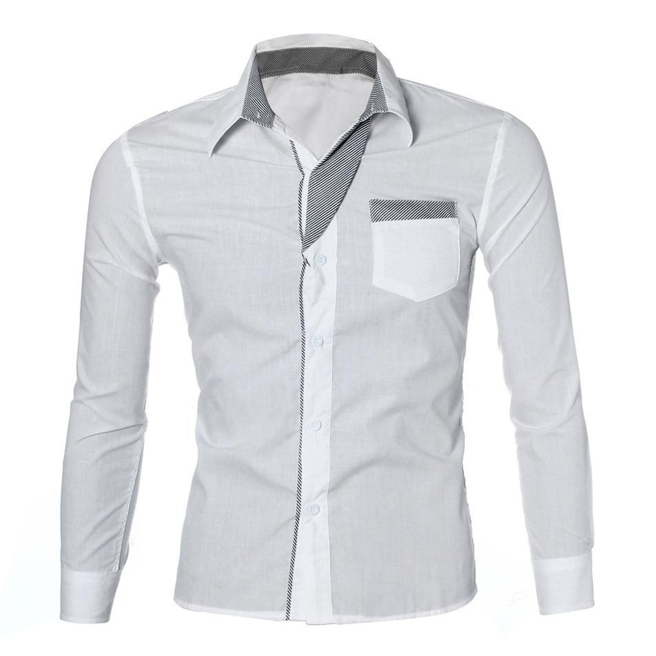 nueva estilos ba875 286ff Moda 2019 Formal Camisas Para Os Homens de Manga Longa Gola Branca Camisa  Do Vintage Dos Homens de Roupas de Fitness Camisa Social Masculina