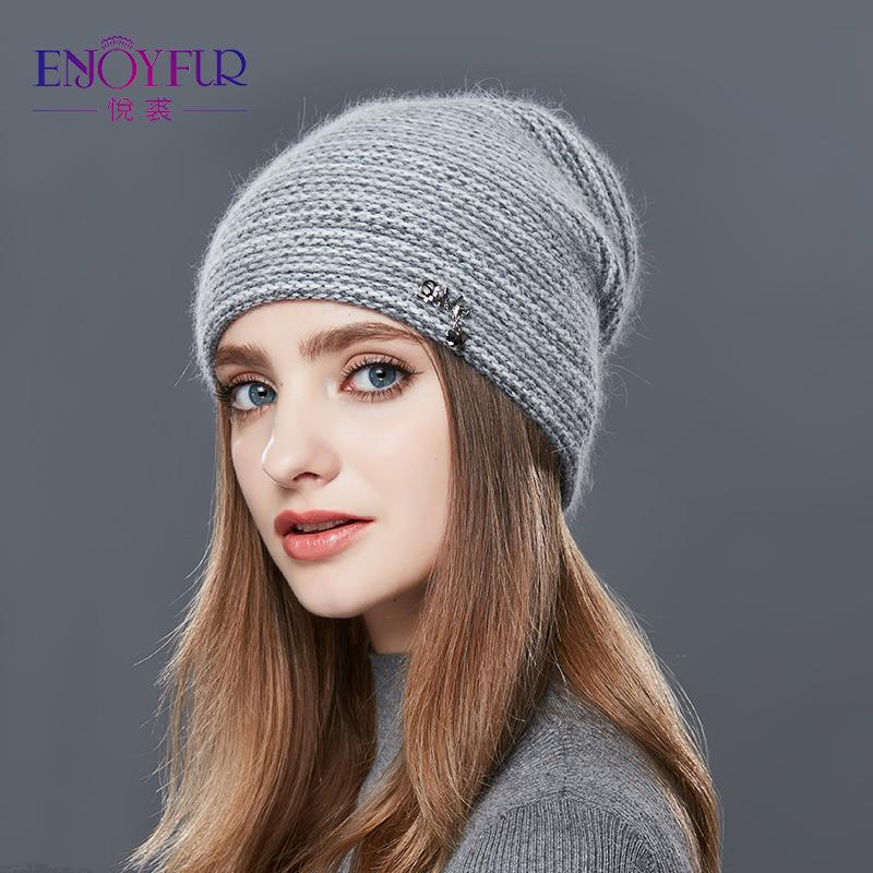 ENJOYFUR Rabbit Cashmere Knitted Winter Hat Women Mixed Color Thick Female Skullies Beanies Warm Gravity Falls Cap Women's Hats S18120302