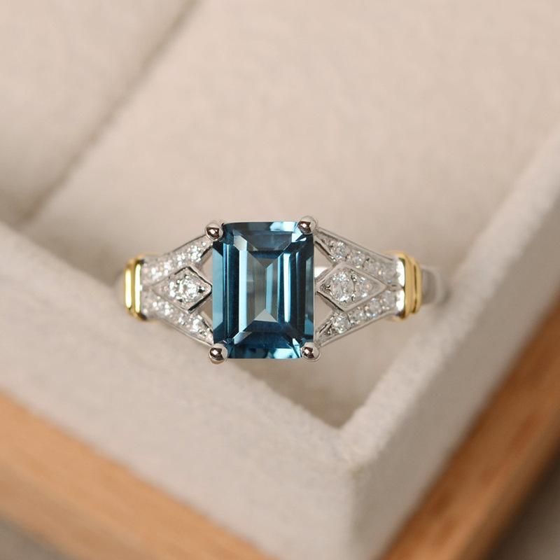 a43742fb8a23 Compre Anillo De Circonio Con Diamante Cuadrado De 14K Anillo De Oro Y  Accesorios De Boda De Cobre Regalo Del Día De San Valentín Estudiantes  Individuales ...